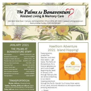 January newsletter at The Palms at Bonaventure Assisted Living and Memory Care in Ventura, California