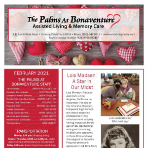 February newsletter at The Palms at Bonaventure Assisted Living and Memory Care in Ventura, California