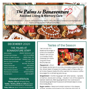 December The Palms at Bonaventure Assisted Living and Memory Care newsletter