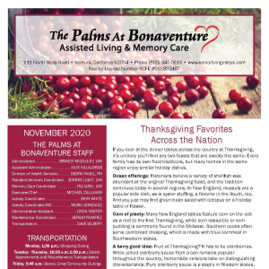 November newsletter at The Palms at Bonaventure Assisted Living and Memory Care in Ventura, California