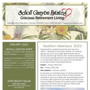 January newsletter at Scholl Canyon Estates in Glendale, California