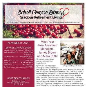 November newsletter at Scholl Canyon Estates in Glendale, California