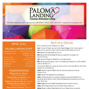 April newsletter at Paloma Landing Retirement Community in Albuquerque, New Mexico