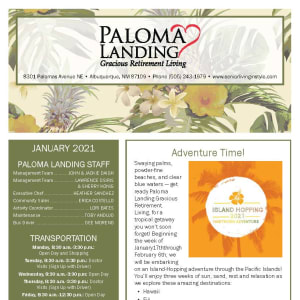 January newsletter at Paloma Landing Retirement Community in Albuquerque, New Mexico