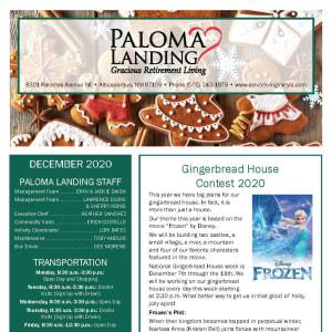 December Paloma Landing Retirement Community newsletter