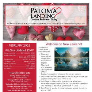 February newsletter at Paloma Landing Retirement Community in Albuquerque, New Mexico