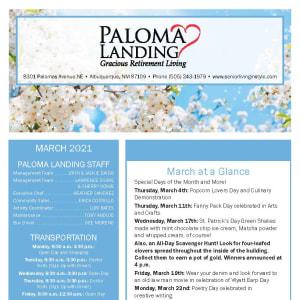 March Paloma Landing Retirement Community newsletter