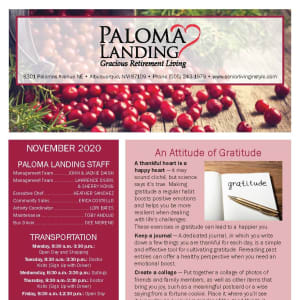 November newsletter at Paloma Landing Retirement Community in Albuquerque, New Mexico