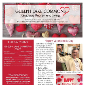February newsletter at Guelph Lake Commons in Guelph, Ontario