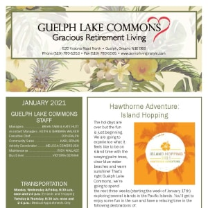 January newsletter at Guelph Lake Commons in Guelph, Ontario
