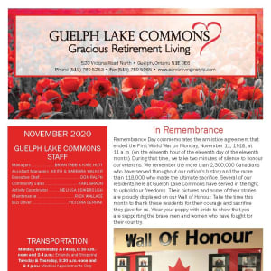 November newsletter at Guelph Lake Commons in Guelph, Ontario