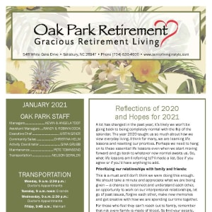 January newsletter at Oak Park Retirement in Salisbury, North Carolina