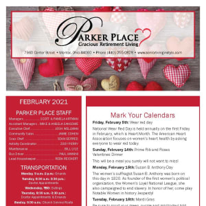 February newsletter at Parker Place in Mentor, Ohio