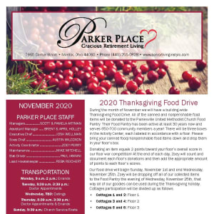 November newsletter at Parker Place in Mentor, Ohio