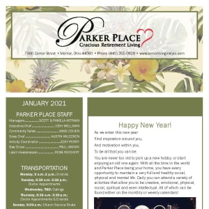 January newsletter at Parker Place in Mentor, Ohio
