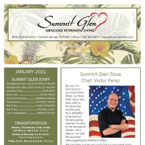 January newsletter at Summit Glen in Colorado Springs, Colorado