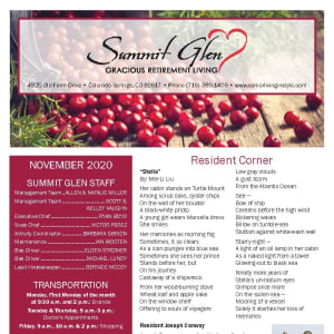 November newsletter at Summit Glen in Colorado Springs, Colorado