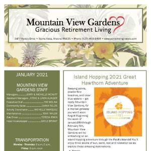 January newsletter at Mountain View Gardens in Sierra Vista, Arizona
