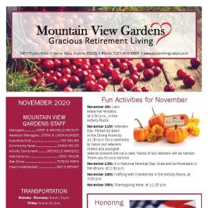 November newsletter at Mountain View Gardens in Sierra Vista, Arizona