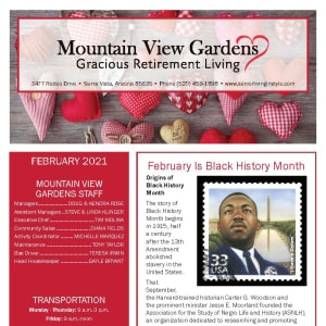 February newsletter at Mountain View Gardens in Sierra Vista, Arizona