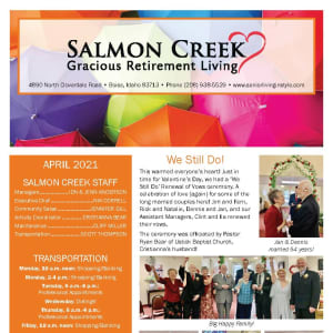 April newsletter at Salmon Creek in Boise, Idaho