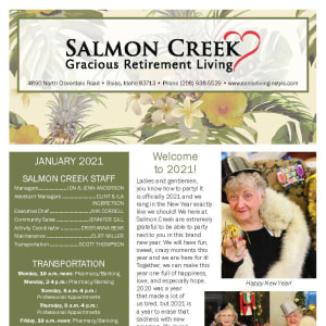 January newsletter at Salmon Creek in Boise, Idaho