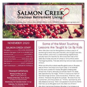 November newsletter at Salmon Creek in Boise, Idaho
