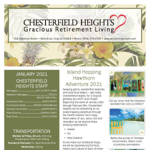 January newsletter at Chesterfield Heights in Midlothian, Virginia