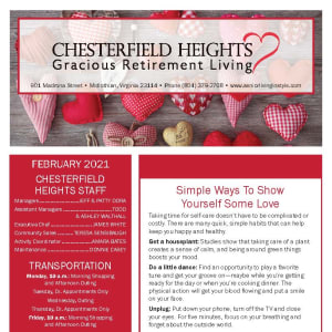 February newsletter at Chesterfield Heights in Midlothian, Virginia