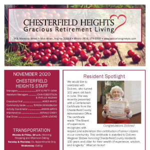 November newsletter at Chesterfield Heights in Midlothian, Virginia