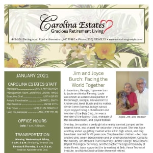 January newsletter at Carolina Estates in Greensboro, North Carolina