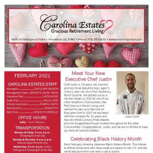 February newsletter at Carolina Estates in Greensboro, North Carolina