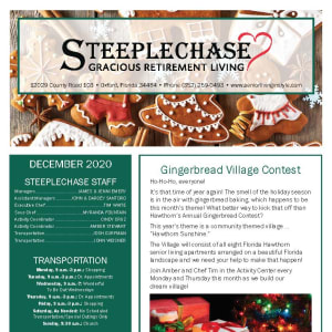 December Steeplechase Retirement Residence newsletter