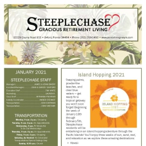 January newsletter at Steeplechase Retirement Residence in Oxford, Florida