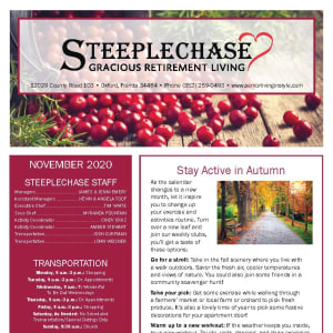 November newsletter at Steeplechase Retirement Residence in Oxford, Florida