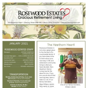 January newsletter at Rosewood Estates in Cobourg, Ontario