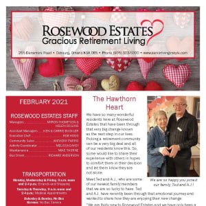February newsletter at Rosewood Estates in Cobourg, Ontario