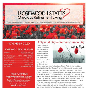 November newsletter at Rosewood Estates in Cobourg, Ontario
