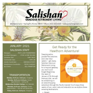 January newsletter at Salishan Gracious Retirement Living in Spring Hill, Florida