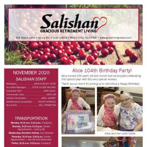 November newsletter at Salishan Gracious Retirement Living in Spring Hill, Florida