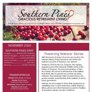 November newsletter at Southern Pines Gracious Retirement Living in Southern Pines, North Carolina