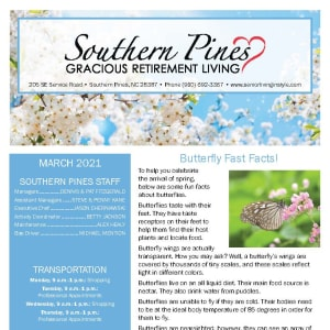 March Southern Pines Gracious Retirement Living newsletter