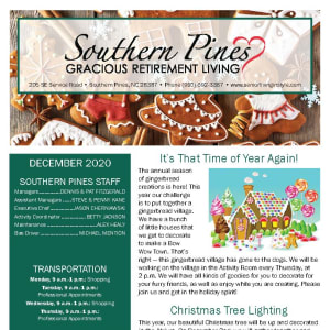 December Southern Pines Gracious Retirement Living newsletter