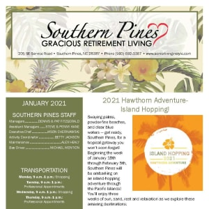 January newsletter at Southern Pines Gracious Retirement Living in Southern Pines, North Carolina