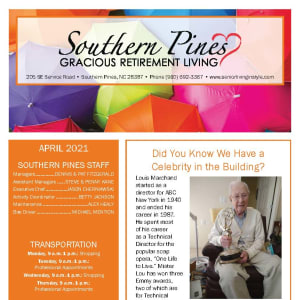 April newsletter at Southern Pines Gracious Retirement Living in Southern Pines, North Carolina