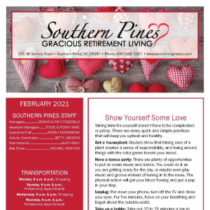February newsletter at Southern Pines Gracious Retirement Living in Southern Pines, North Carolina