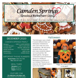 December Camden Springs Gracious Retirement Living newsletter