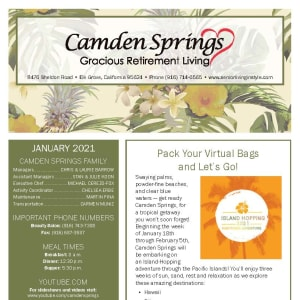 January newsletter at Camden Springs Gracious Retirement Living in Elk Grove, California