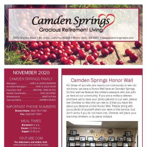 November newsletter at Camden Springs Gracious Retirement Living in Elk Grove, California