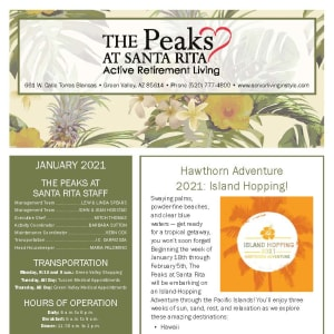 January newsletter at The Peaks at Santa Rita in Green Valley, Arizona